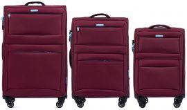 Sada 3 textilních kufrů WINGS 2861 RED L/M/S