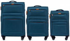 Sada 3 textilních kufrů WINGS 2861 TOURQUSE L/M/S