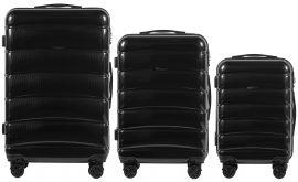 Cestovní kufry s TSA sada WINGS ABS- PC BLACK L,M,S