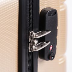 Cestovní kufry s TSA sada WINGS ABS- PC SILVER L,M,S E-batoh