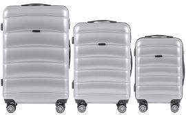 Cestovní kufry s TSA sada WINGS ABS- PC SILVER L,M,S