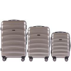 Cestovní kufry s TSA sada WINGS ABS- PC BRONZE L,M,S E-batoh