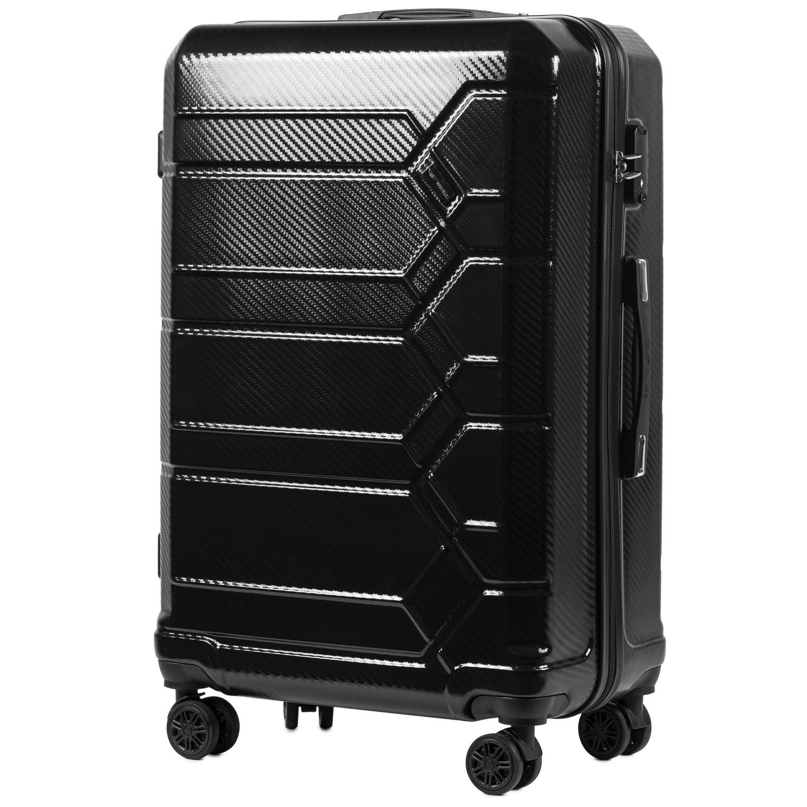 Cestovní kufr WINGS ABS-POLIPROPYLEN BLACK S TSA velký L