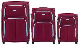 Sada 3 textilních kufrů WINGS 214 DOUBLE RED L/M/S E-batoh