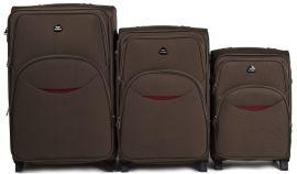 Sada 3 textilních kufrů WINGS 1708 COFFEE L/M/S