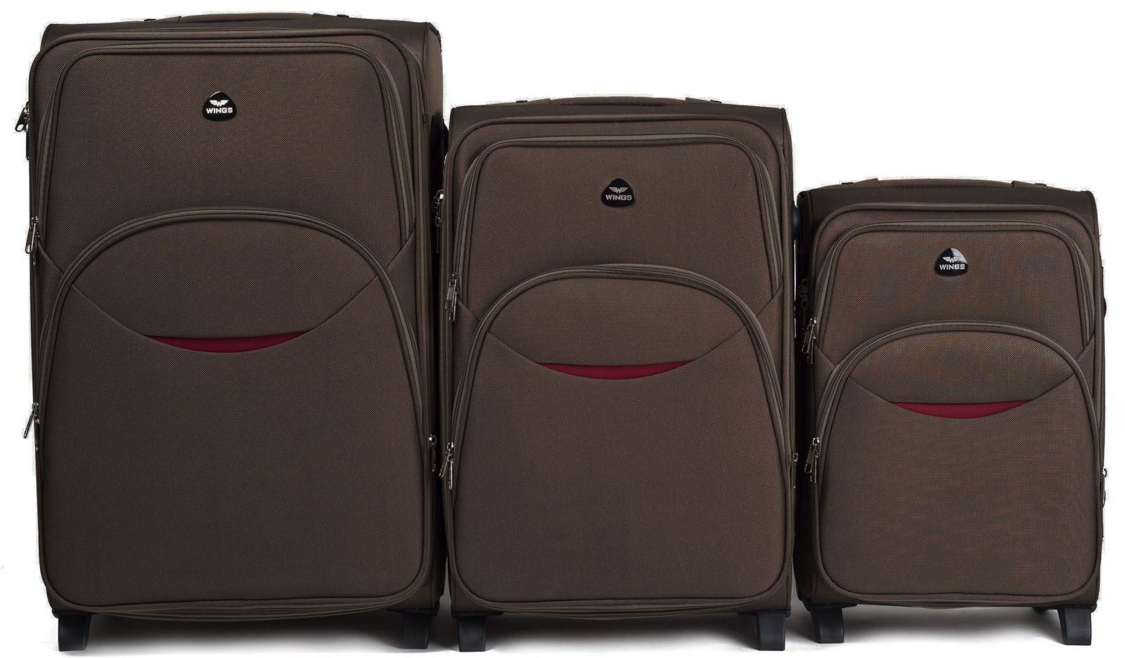 Sada 3 textilních kufrů WINGS 1708 COFFEE L/M/S E-batoh