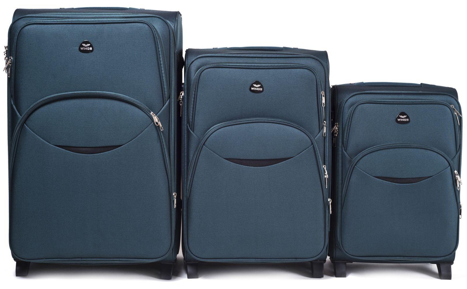Sada 3 textilních kufrů WINGS 1708 DOUBLE GREEN L/M/S E-batoh