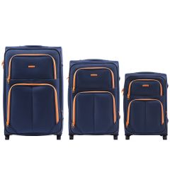 Sada 3 textilních kufrů WINGS 214 DOUBLE BLUE L/M/S E-batoh