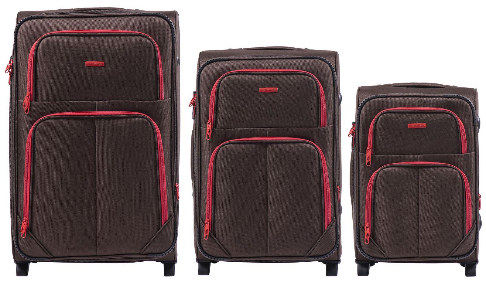 Sada 3 textilních kufrů WINGS 214 DOUBLE COFFEE L/M/S E-batoh