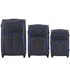 Sada 3 textilních kufrů WINGS 214 DOUBLE GREY L/M/S E-batoh