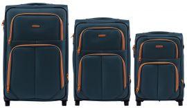 Sada 3 textilních kufrů WINGS 214 DOUBLE TOURQUSE L/M/S