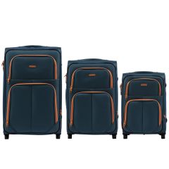 Sada 3 textilních kufrů WINGS 214 DOUBLE TOURQUSE L/M/S E-batoh