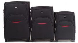 Sada 3 textilních kufrů WINGS 1708 BLACK L/M/S