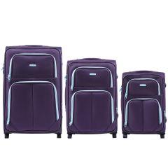 Sada 3 textilních kufrů WINGS 214 DOUBLE PURPLE L/M/S E-batoh