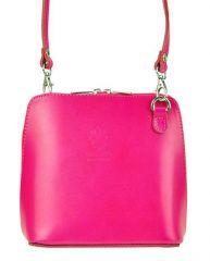 Kožená malá dámská crossbody kabelka tmavá růžová Diva E-batoh