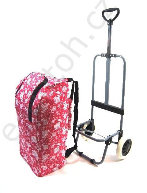 Nákupní termo taška-batoh na kolečkách růžová