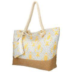 Velká šedo-žlutá plážová taška přes rameno B6802