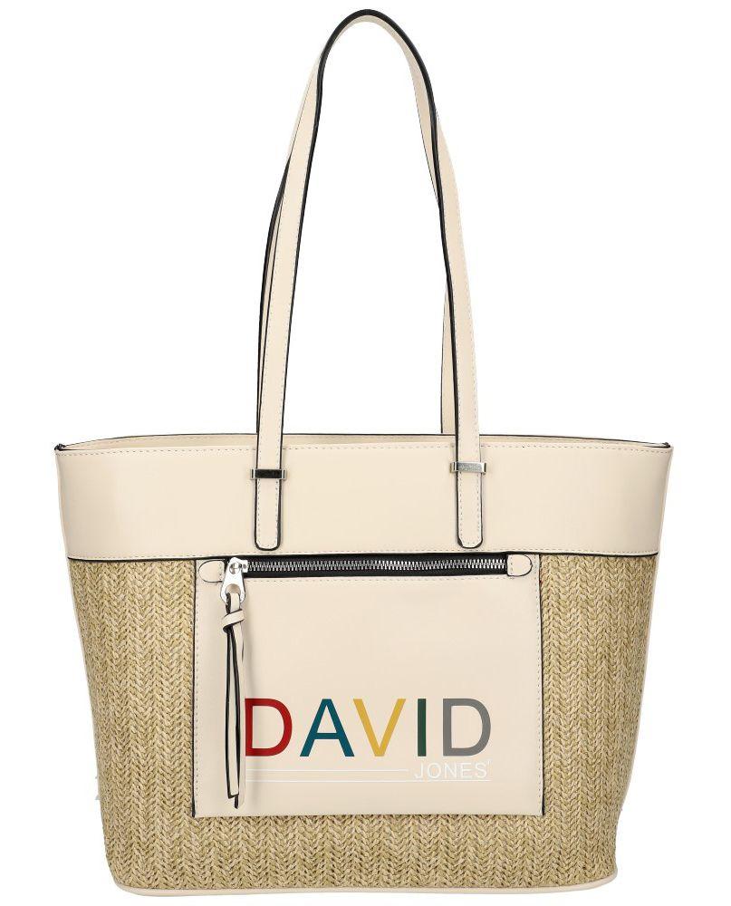David Jones DAVID JONES Krémová velká dámská kabelka přes rameno CM5741