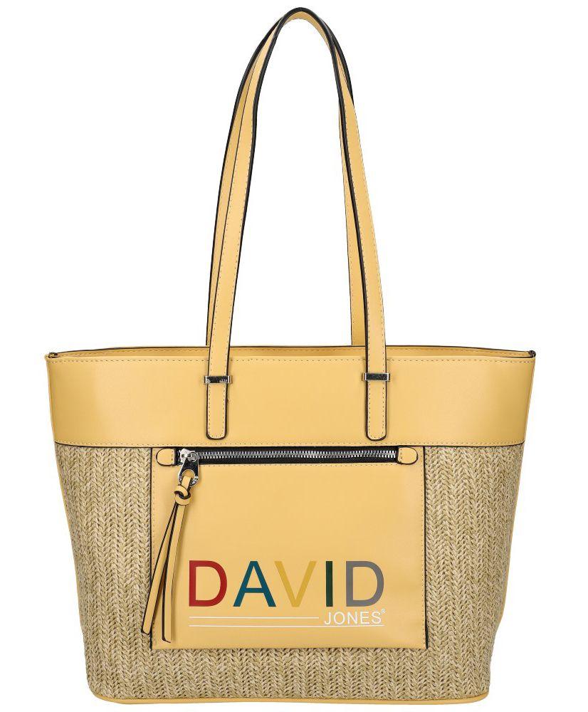 David Jones DAVID JONES Žlutá velká dámská kabelka přes rameno CM5741