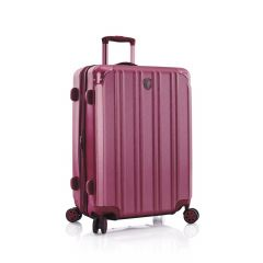 Elegantní skořepinový kufr s kovově lesklým povrchem Heys DuoTrak M Burgundy