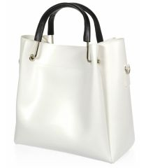Bílá moderní dámská kabelka s černými ručkami S728 GROSSO E-batoh