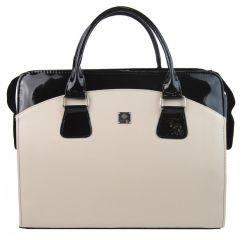 PUNCE LC-01 čokoládovo-béžová dámská kabelka pro notebook do 15.6 palce