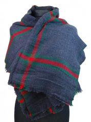 NEW BERRY dámská pletená šála / pléd BC717 modrá E-batoh
