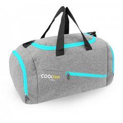 Sportovní taška RODOS 28 - šedá+tyrkysový zip 40L