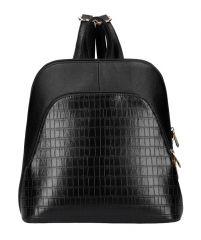Černý dámský módní batůžek v kroko designu AM0106