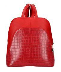 Červený dámský módní batůžek v kroko designu AM0106