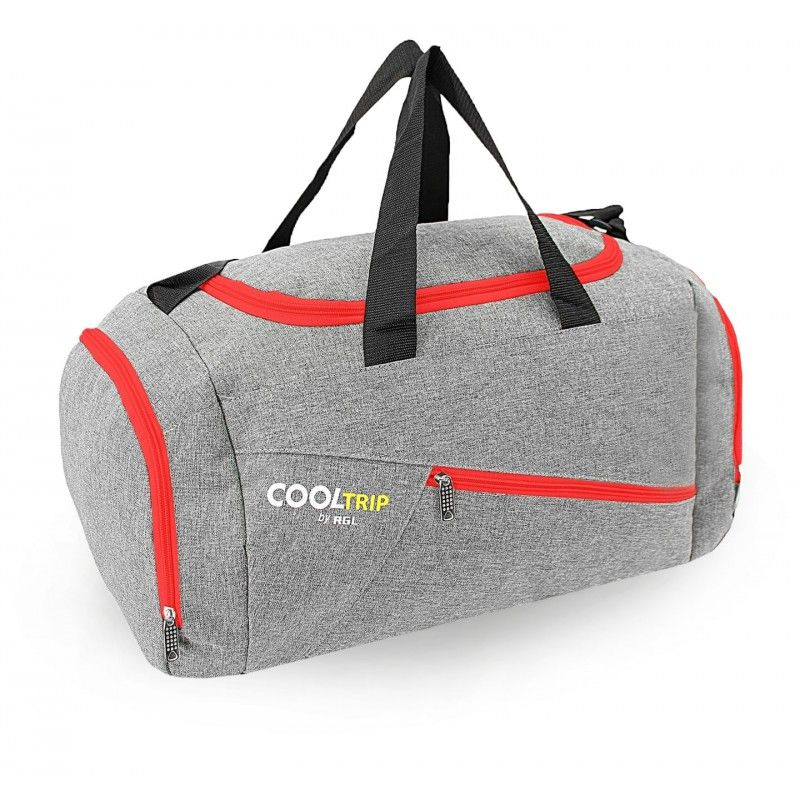 Sportovní taška RODOS 28 - šedá+červený zip 40L