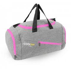 Sportovní taška RODOS 28 - šedá+růžový zip 40L