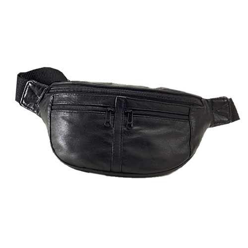 Malá kožená ledvinka s kapsami na zip Travelite Leather Waist Bag Black E-batoh