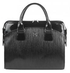 PUNCE LC-01 černá vroubkovaná dámská kabelka pro notebook do 15.6 palce