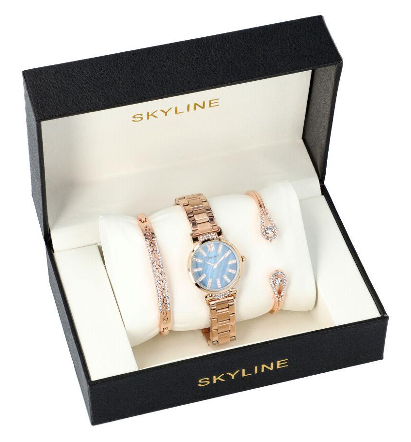 SKYLINE dámská dárková sada růžovo zlaté hodinky s náramky SM0008