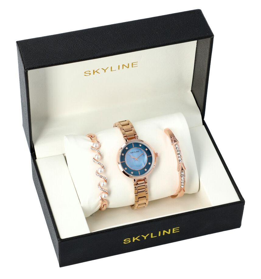 SKYLINE dámská dárková sada růžovo zlaté hodinky s náramky SM0006