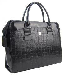 PUNCE LC-01 černá matná/lakovaná dámská kabelka pro notebook do 15.6 palce