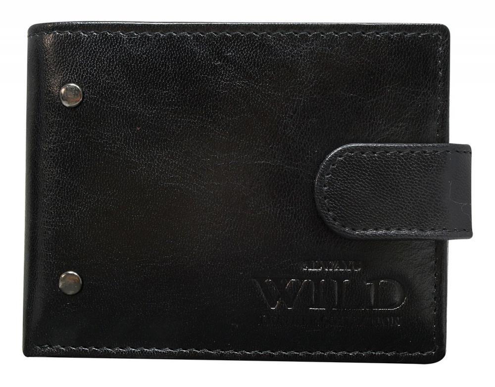 Wild Kožená černá menší pánská peněženka RFID v krabičce ALWAYS WILD