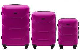 Cestovní kufry sada WINGS 147 ABS ROSE RED L,M,S