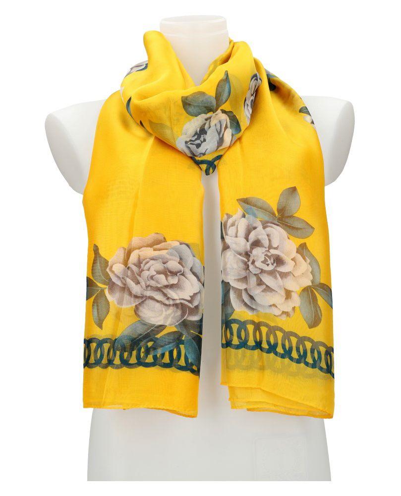 Cashmere Dámský letní šátek / šála 179x100 cm žlutý s květy