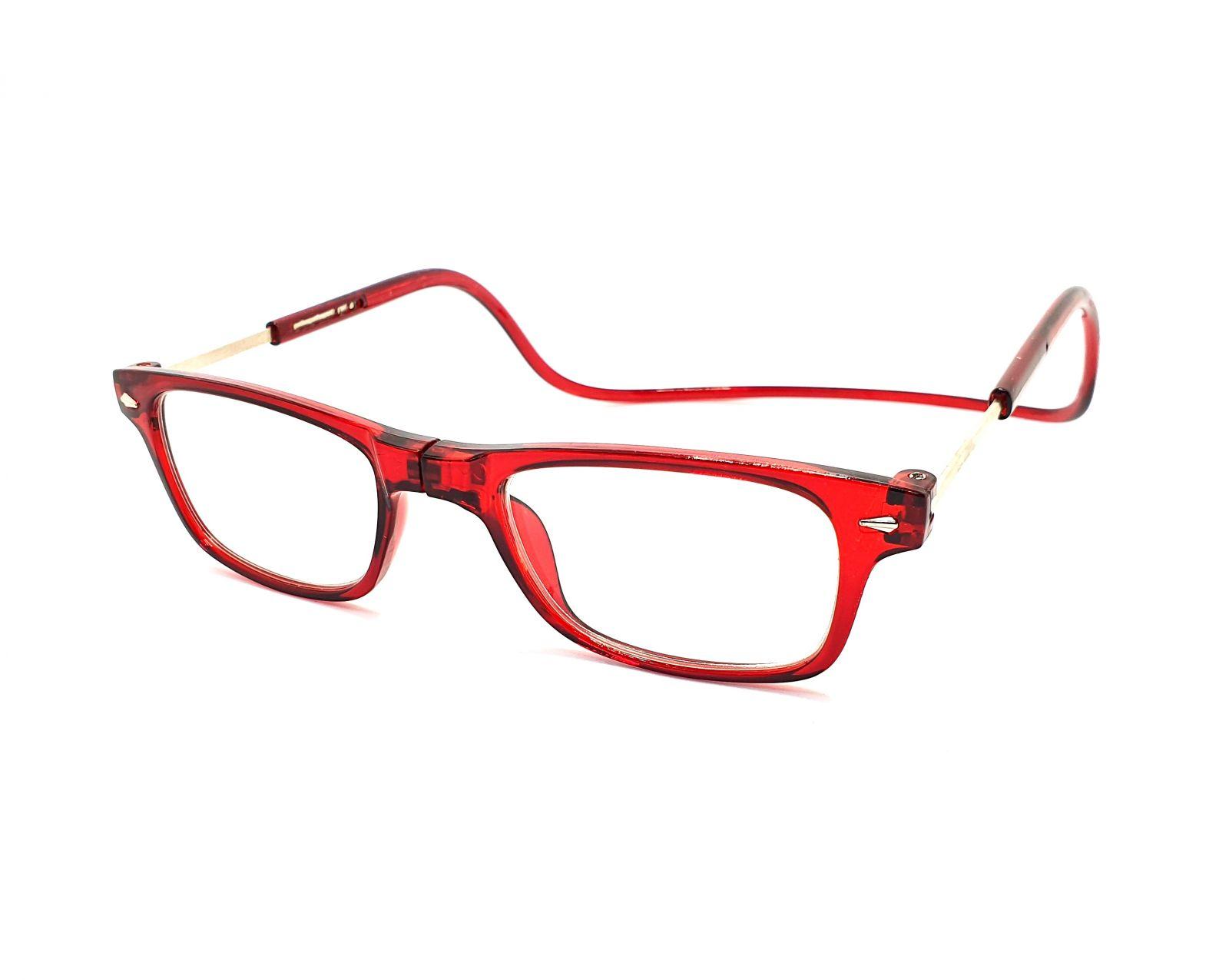 Dioptrické brýle na čtení s magnetem A015 +1,00 - červené obroučky