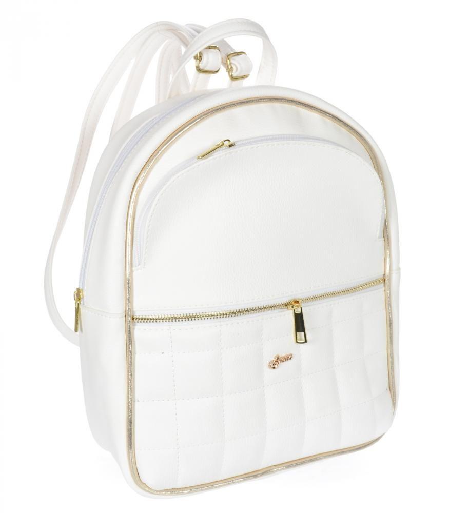 Elegantní dámský módní batůžek bílo-zlatý B05 GROSSO