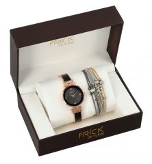 SKYLINE dámská dárková sada černo-růžové hodinky s náramkem R2001