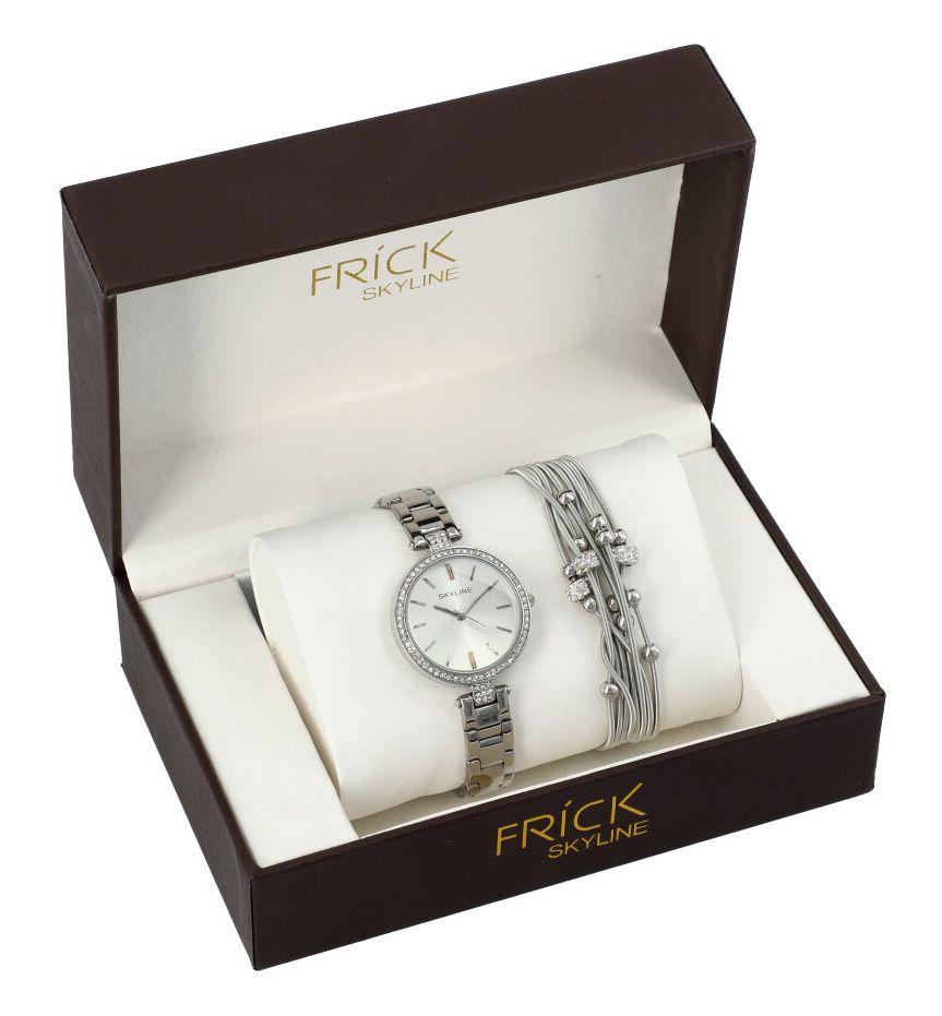 SKYLINE dámská dárková sada stříbrné hodinky s náramkem R2011
