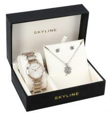 SKYLINE dámská dárková sada stříbrno-růžové hodinky s náhrdelníkem a náušnicemi 8333