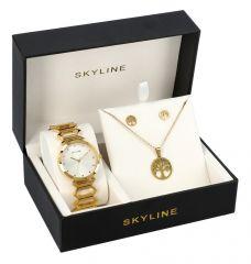 SKYLINE dámská dárková sada zlaté hodinky s náhrdelníkem a náušnicemi 8888