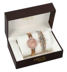 SKYLINE dámská dárková sada zlato-růžové hodinky s náramkem R2008