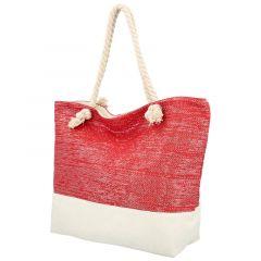 Velká moderní plážová taška červená 406A