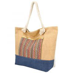 Velká moderní plážová taška s čelní kapsou meruňková hnědá 410