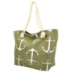 Velká moderní plážová taška khaki zelená 21506